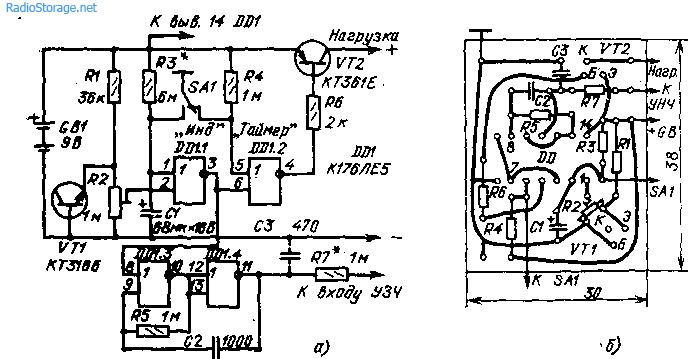 Схема таймера-индикатора разрядки батарей питания (а) монтажная плата (б). и, таймера (рис. 38).