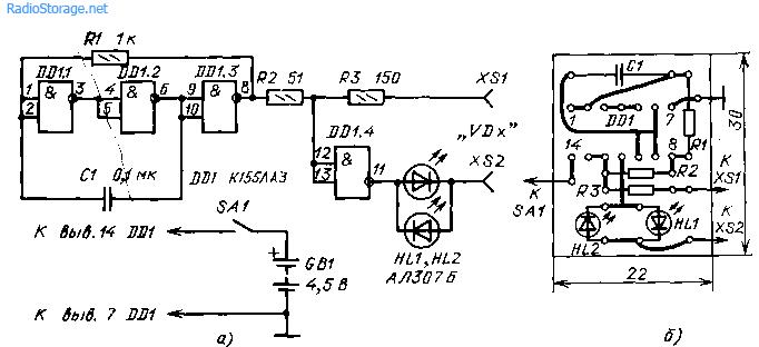 Схема испытателя диодов на