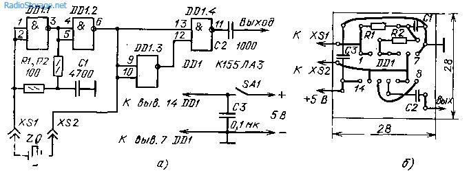 Детекторы радиоизлучения и... Tweet.  Рис. 61.  Калибратор шкал: а - схема, б - монтажная плата.