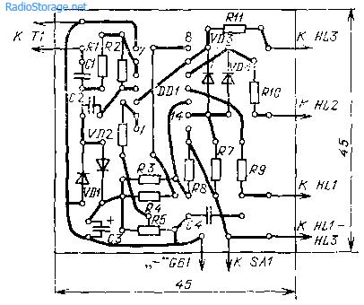 Печатная плата и схема размещения элементов индикатора потребляемой мощности со световой сигнализацией
