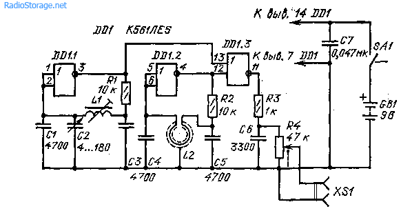 Схема простого металлоискателя