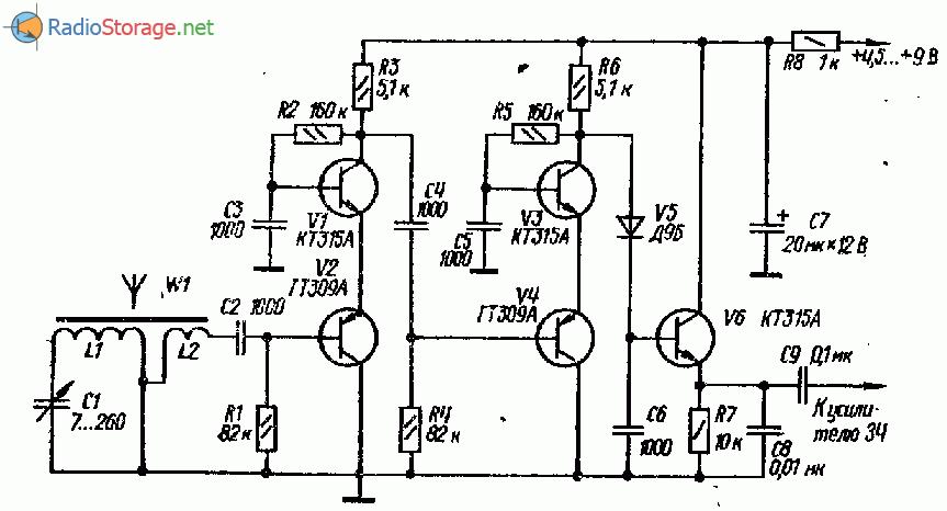 Радиоприемник с двухкаскадным