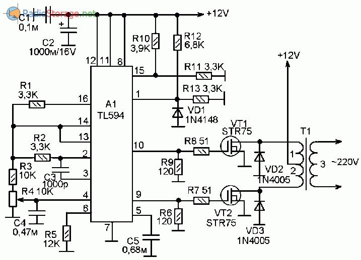 Самодельный инвертор напряжения +12V в ~220V, 100W (TL594)