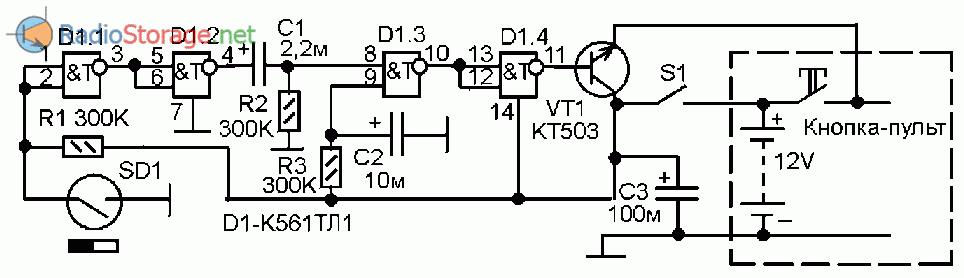 Схема охранной сигнализации с радиоканалом