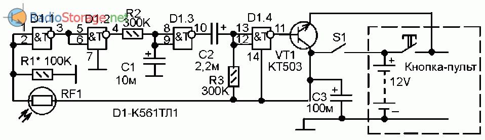 Сигнализатор незакрытой двери холодильника, схема