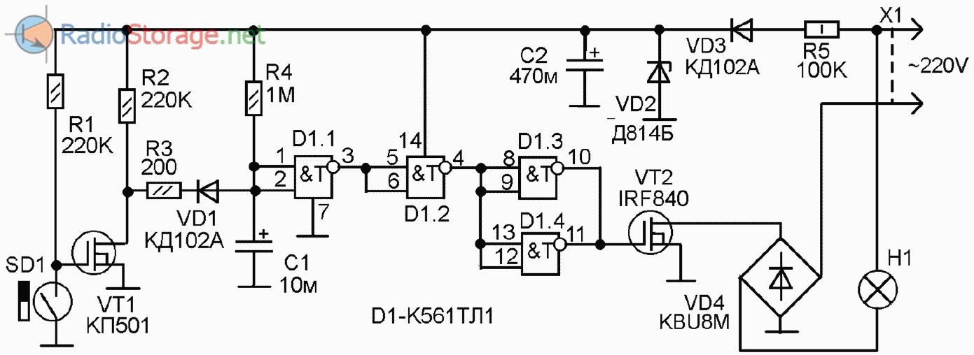 Схема автоматический выключатель света фото 67