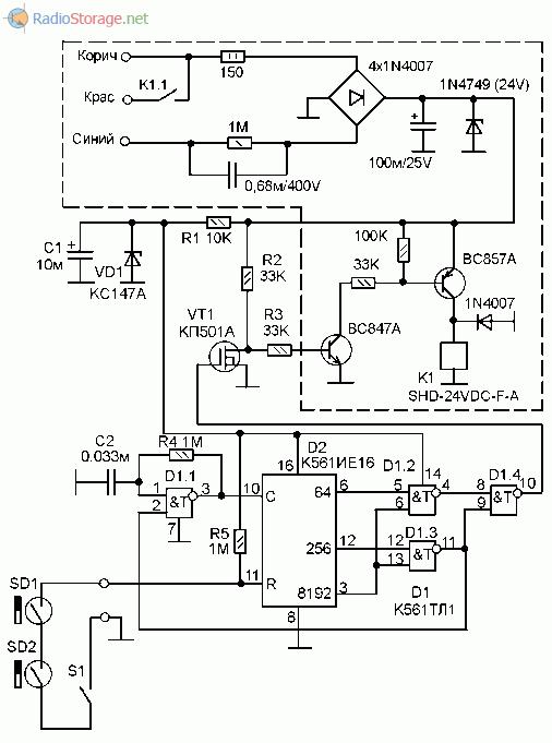 Часть схемы фото-реле ФР-601 вместе с герконовым датчиком