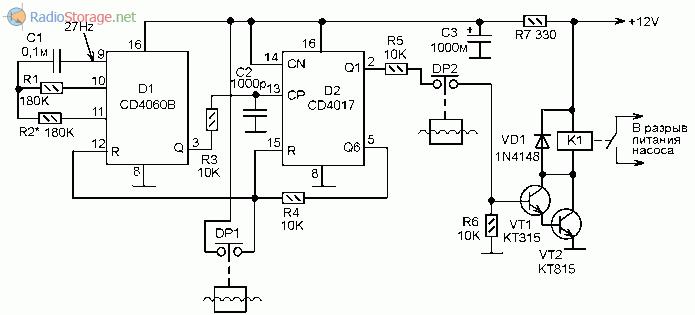 Блок автоматического управления электронасосом (CD4060, CD4017)