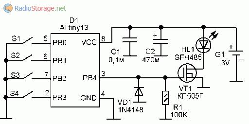Оптическое дистанционное управление на 4 канала (attiny13, кп505).