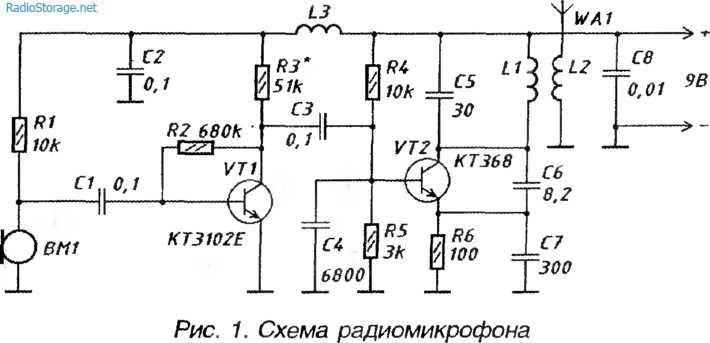 Схема радиомикрофона 88-108
