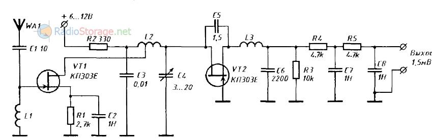 Рис. 1. Схема простого сверхрегенеративного приемника.  Ha рис. 1 приведена принципиальная электрическая...