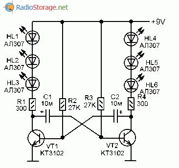 Схема простой мигалки на шести светодиодах и двух транзисторах