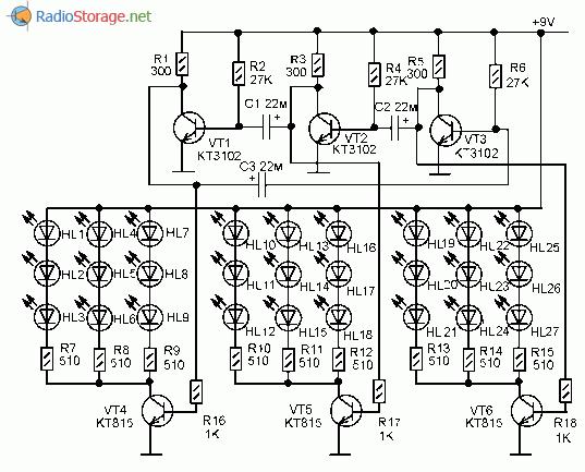 Схема мигалки на светодиодах фото 498