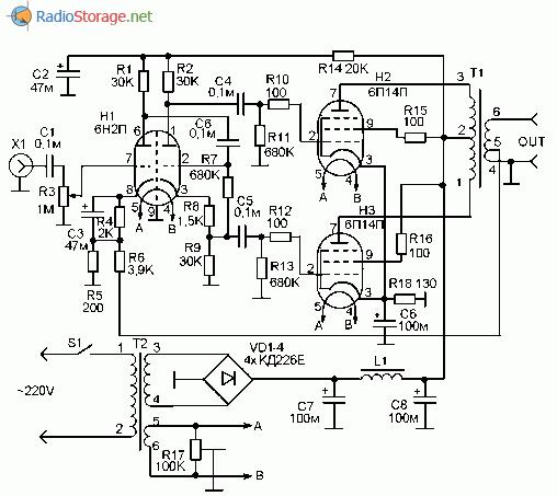 Для стандартного включения 6п14п сетку 9 соединять с точкой 1 или точкой 2