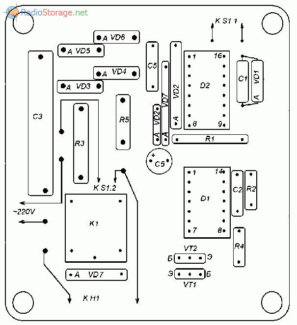 Печатная плата для схемы ночника - вид со стороны деталей