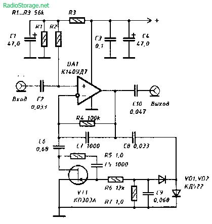Схема компрессора на ОУ с