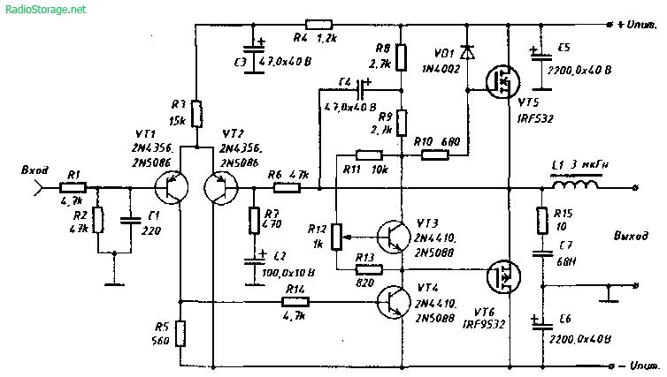 Схема усилителя мощности НЧ на 60 Ватт с полевыми транзисторами на выходе