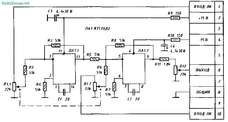"""На рис. 2 приведена схема подключения конвертера к магнитофону  """"Маяк-233-стерео """", а на рис. 3 - печатная плата..."""