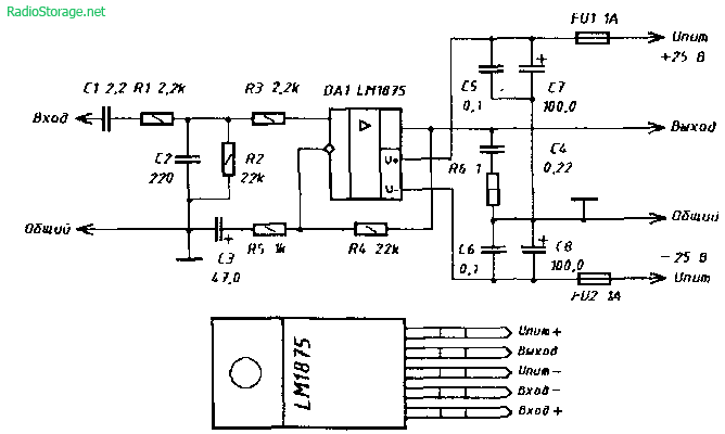 Схема УНЧ на микросхеме LM1875