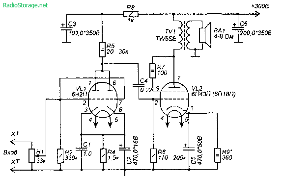Схема УНЧ на лампах 6Н2П,