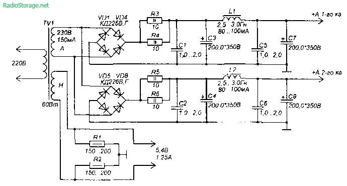 Схема лампового усилителя мощности на 6Н2П, 6П43П (2-3Вт) .