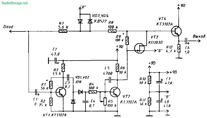 Схема приставки-шумоподавителя ( Noise gate ) для электрогитары.