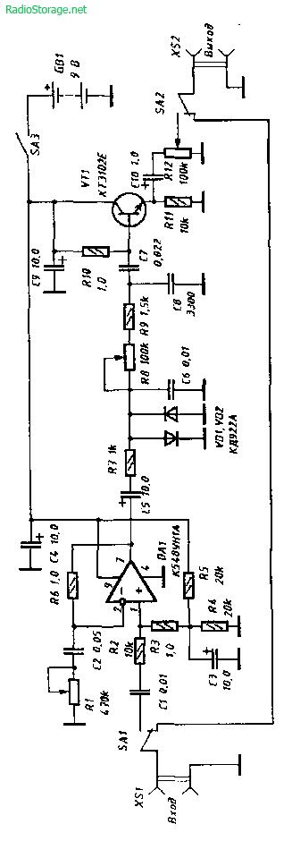 sxemy dlya elektrogitary Схема устройства для создания эффекта овердрайв (электрогитара).