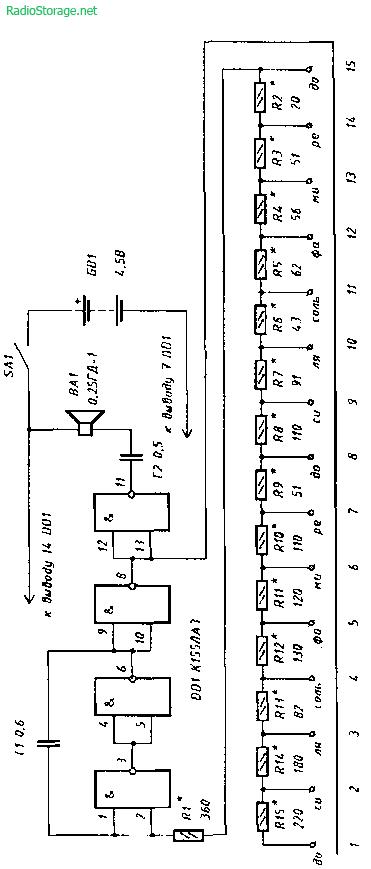 Схема простого электромузыкального инструмента Паятель.  Ру.