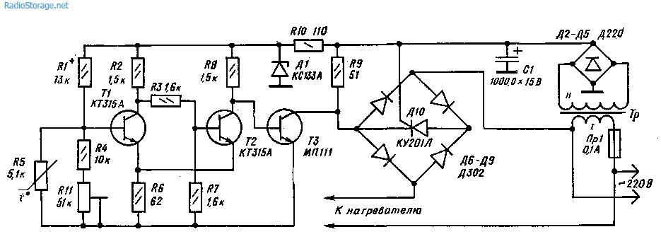Схема терморегулятора для