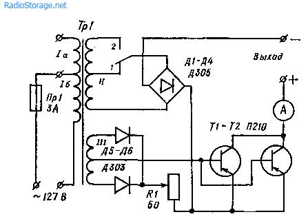 схема индикатора зарядки аккумулятора на 9 вольт.
