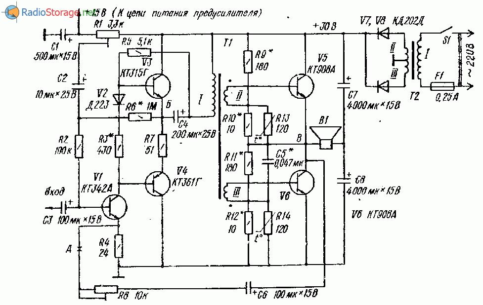 Транзисторный усилитель НЧ с