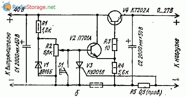 Принципиальная схема стабилизатора для блока питания с защитой (0-27В)