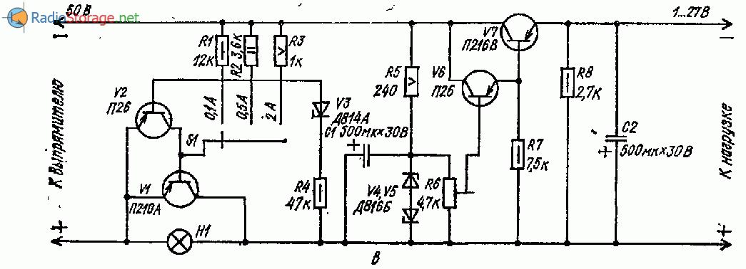Принципиальная схема стабилизатора с установкой порогового тока для защиты