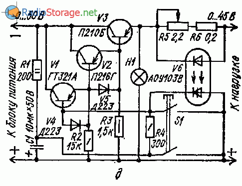 Схема защиты от перенагрузки по току с использованием динисторного оптрона