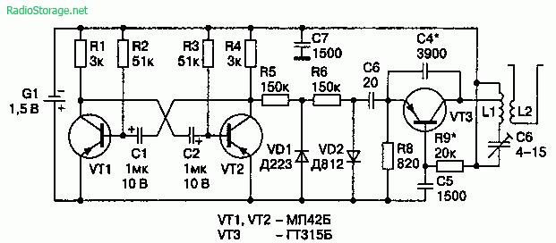 Схема генератора помех (100