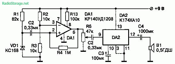 Схема генератора звукового