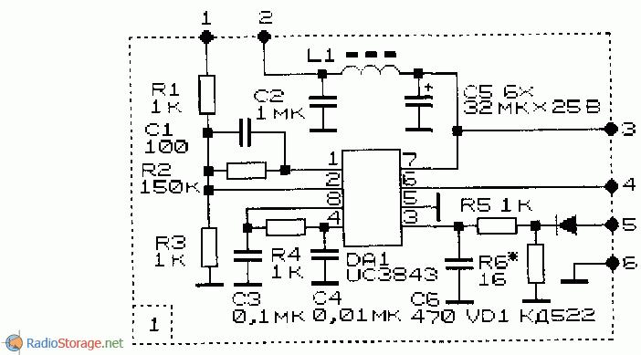 принципиальная схема.  Импульсные стабилизаторы напряжения на микросхемах и транзисторах.