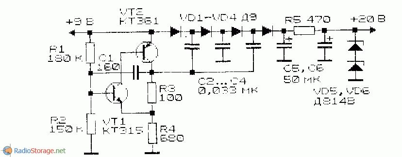 Рис. 1.11.  Схема преобразователя напряжения для варикапов.