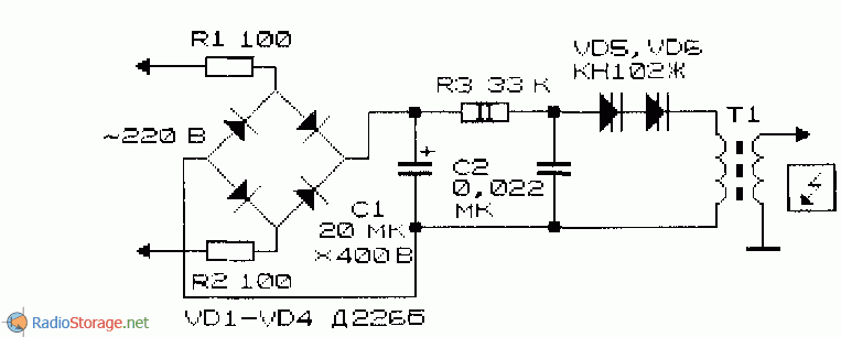 Схема генератора высоковольтных импульсов с мостовым выпрямителем.  Следует отметить, что КПД такого аналога и...