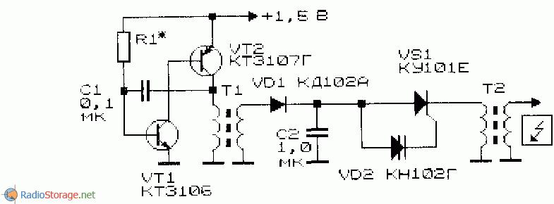 Схема генератора напряжения с