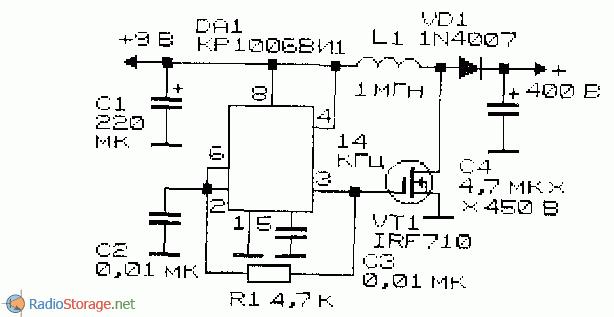 Преобразователь напряжения на основе КР1006ВИ1