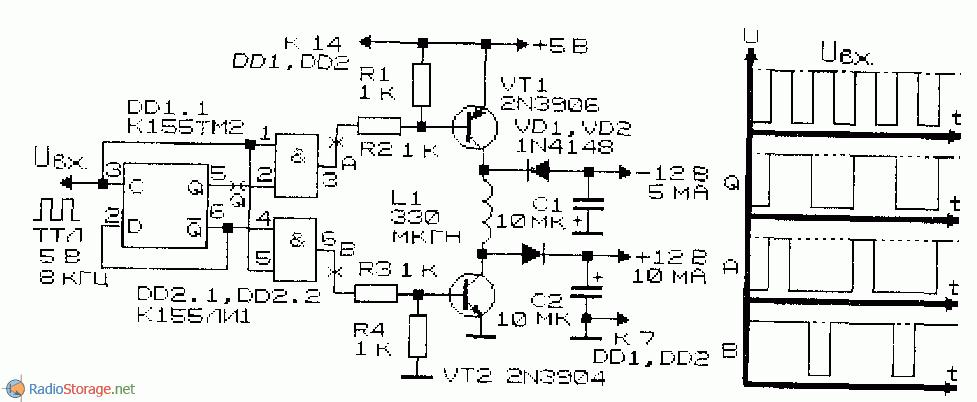 Схема преобразователя с одним индуктивным элементом 12В