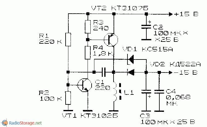 Инвертор напряжения +15/-15 В принципиальная схема