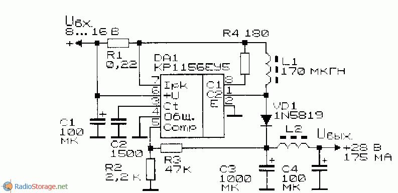 принципиальная схема повышающего преобразователя напряжения на микросхеме КР1156ЕУ5