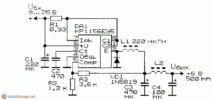 принципиальная схема понижающего преобразователя напряжения на КР1156ЕУ5