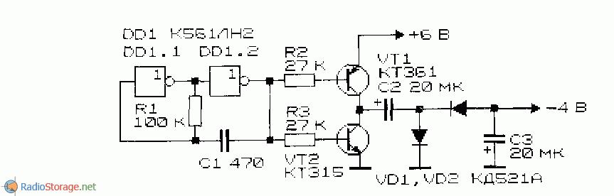 Схема преобразователя напряжения-инвертора с задающим генератором на КМОП-элементах