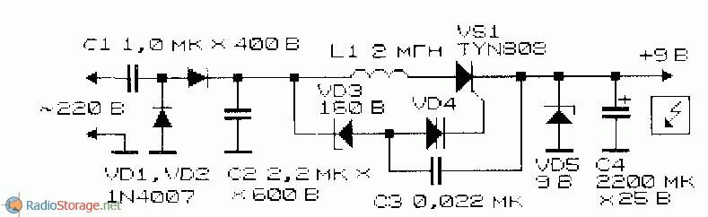Схема понижающего ПН с сетевым