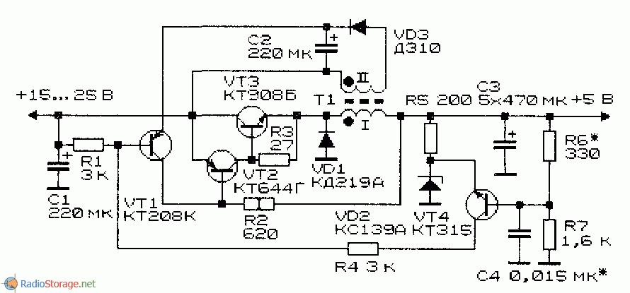 Схема модифицированного импульсного стабилизатора напряжения