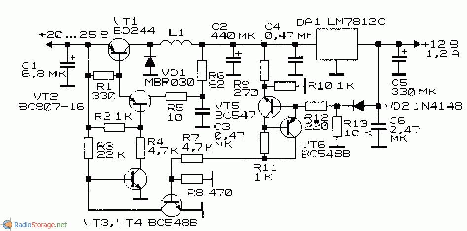 Схема импульсного стабилизатора напряжения с малыми пульсациями
