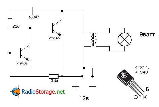 Принципиальная схема простого инвертора напряжения 12в - 220в